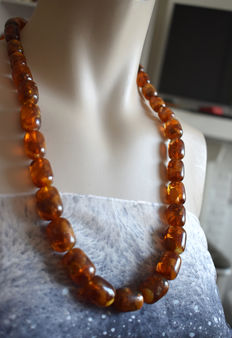 Long antique amber necklace pressed Baltic amber, caramel colour