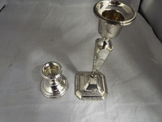Silver candlestick,  1921 and a small silver candlestick, Birmingham,  2001