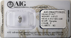 AIG Sealed 0.57 ct Loose Marquise cut diamond  F Color , SI2   ** Low Reserve **