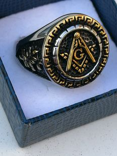 Masonic Knight Templar Seal Ring - —solid 316L hypo-allergenic surgical steel
