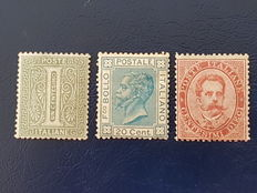 Kingdom of Italy, 1869-79 – Green 1 c. stamp – Blue 20 c. – Carmine 10 c. – Sassone catalogue # L14, T26, 38.