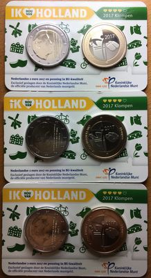 The Netherlands - Holland coin card 2017 'Klompen' (3 coins)