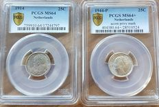 The Netherlands – 25 cent 1914 and 1944 P – silver in slabs PCGS