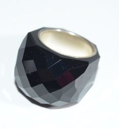 Swarovski - Large black crystal cut ring