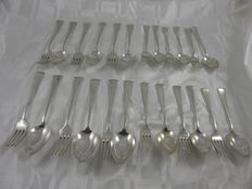 Lot with 6 dinner- and 6 dessert place settings, art deco, WMF, Germany, ca 1935