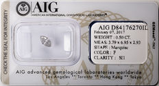 AIG Sealed 0.50  ct Loose Marquise cut diamond F colour,  SI1   ** Low Reserve **