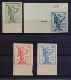 Kingdom of Italy - 1921 - Archive proof - 3rd anniversary of Victory - Complete series of 4 proof stamps: 5 cent, 10 cent, 15 cent, 25 cent - All on thin paper with filigree, with perforations, without gum.