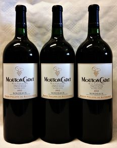 2012, Mouton Cadet Bordeaux, Baron Philippe de Rothschild, three magnums (1.5 litre each)
