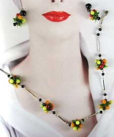 Vintage 1960s – Italy – Demi Parure - Fruit Salad Set = Necklace + Earrings