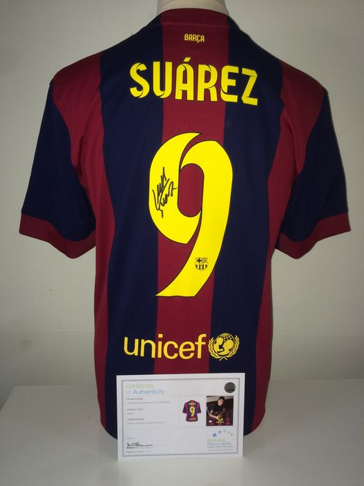 b60447afb74 Luis Suarez Signed FC Barcelona home shirt 2014/2015 (Treble season) + COA