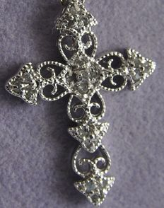 Italian silver necklace with cross with diamonds