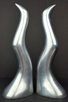Anna Efverlund – two candle sticks in solid aluminium 'Ljusstake'