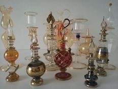 16 blown glass miniatures collection.