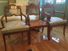 3x Charles X style cherry wood armchairs - 1825