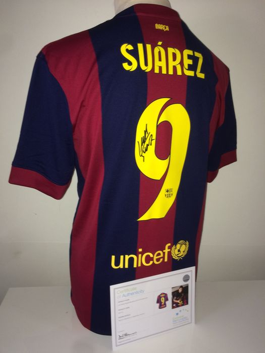 48cfa3556e8 Luis Suarez Signed FC Barcelona home shirt 2014/2015 (Treble season) + COA  inc. Photoproof.