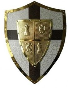 Medieval shield with emblem and golden detailed edges