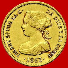 Spain – Isabel II – 40 reales gold coin – 1863 – Madrid.
