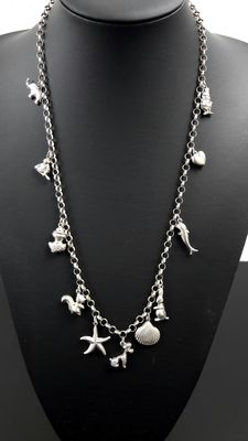 Silver rolo link necklace with pendants