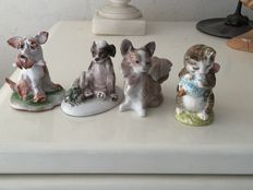 Lot with 4 porcelain figurines, including Beatrix Potter and Lladro