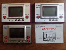 Lot of 3 Nintendo Game & Watch Gold series - Ball (with manual) - Helmet - Manhole