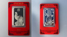 Switzerland - Pamp Suisse - 2 x 1 oz 999 silver bullion lunar year of the Rooster 2017 + lunar year of the monkey 2016