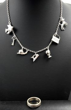 Silver Jasseron link necklace  with pendants; ring Esprit 925k
