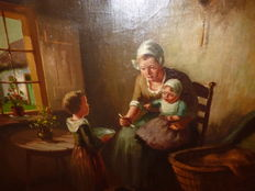 Unknown (20th century) - Mother and children