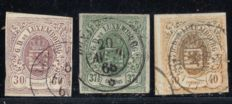 Luxembourg 1859 – Selection of 3 consecutive stamps – Michel 9/11