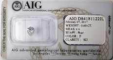 AIG Sealed 0.60 ct Loose Pear cut diamond  F Color , SI2   ** Low Reserve **