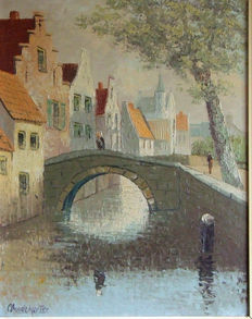 C. Montier (French School, 1st half of 20th century)-cityscape in Bruges
