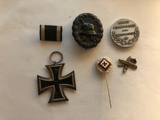 Iron Cross 1914 2nd class and clasp - Wounded badge black - Patriotic needle Iron Cross silver - medal Ernst Bassermann and unknown