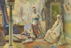 Amedeo Simonetti (1874 - 1922) - The rug merchant (larger work)