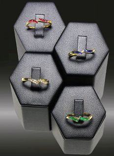 Ring with diamonds, emeralds, rubies, sapphires, Exclusive!