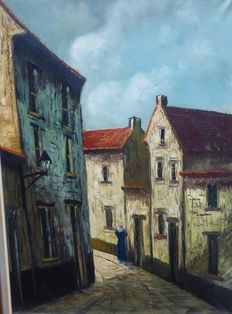 Unknown (20th century) - cityview of street in Bruges