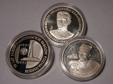 Poland 5000 - 200.000 Zlotych 1989-1991 (3 different silver coins)