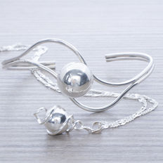 Exclusive design 925/1000 sterling silver Italian jewellery set