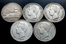 Spain – Provisional government and Amadeo I. 5 silver pesetas from 1870 *70 to 1871 *75 (5 coins) – silver