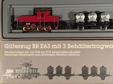 Märklin H0 - 2874 - Train set with e-loc E-63 of the DB with 3 container carriers