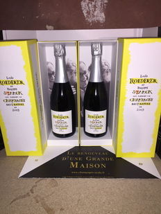 2009 Louis Roederer and Philippe Starck Brut Nature vintage champagne - 2 bottles