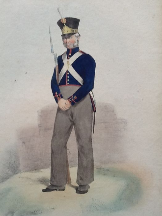 3 prints of Dutch uniforms during the battle of Waterloo and immediately afterwards from 1824/1900