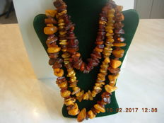 Set of 3pc. Genuine Baltic amber necklaces. No reserve. 205.2g