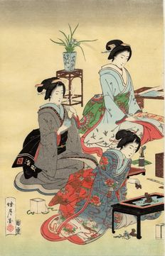 Original Japanese Print by Chikanobu - Japan - Women Shopping - circa 1880.