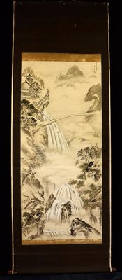 Scroll painting with a mountain landscape, a palace and waterfalls, signed with 執中斎春粧 (shicchusai Shunso) – Japan – around 1850
