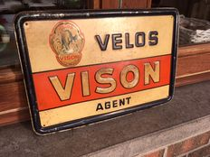"Old Billboard in metal ""VELOS VISON"" 1948"