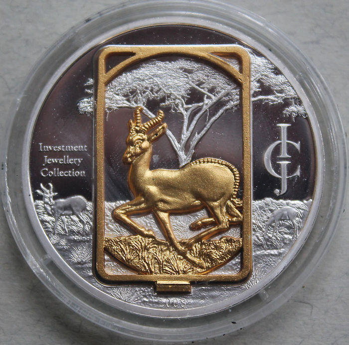 "50 kwacha - Malawi 2008 - sculpture-coin ""Springbok"" - investment jewellery collection"
