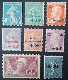 France 1927/1929 - 2 Caisses d'Amortissement, Sourire de reims and Tutorials - Yvert n ° 246/248, 249/251, 256 and 161-CI2