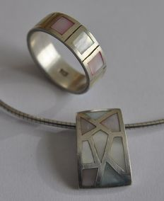 Silver clasp and pendant, ring