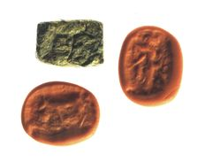 Seal board, human figure and quadruped Stone - h = 16.5mm