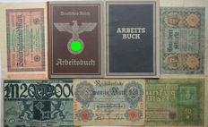 German Arbeitsbuch: 2nd type from Alfeld + 5 banknotes + last Arbeitsbuch type. WWII
