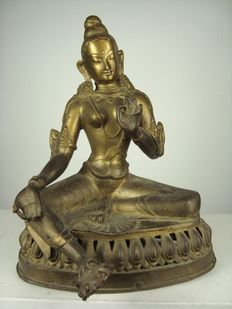Large copper Tara - Nepal - end of the 20th century